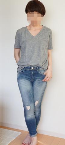 GU VネックYシャツ_グレー (11)