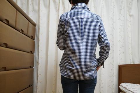 MUJIブルーチェックシャツ9