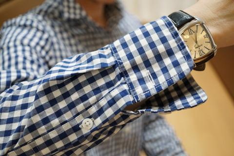 MUJIブルーチェックシャツ14