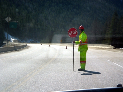 undefended roadworker on the road