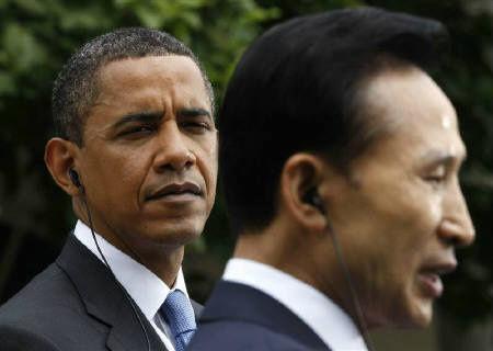 【世間】韓国の大統領を見るオバマ大統領の表情