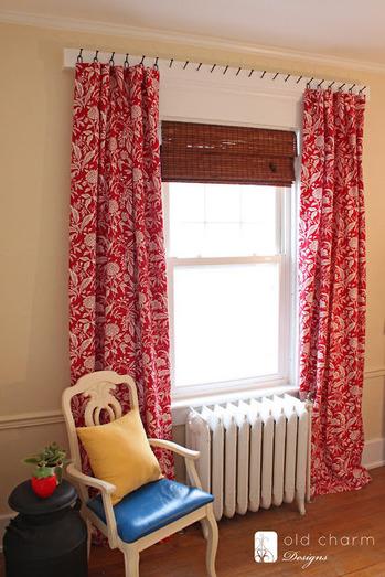 【海外のカーテン使い☆】レール無くてもいいんですね~。ジュート麻でも優雅なカーテンになるんですね~。 アイデアもらって、ベランダに麻のカーテン掛けました!