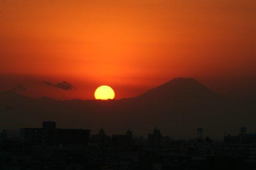 夕陽と富士