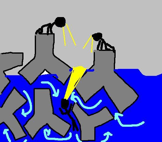 サーファーがテトラポット地獄にはまり死亡