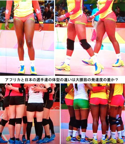 アフリカと日本の選手の体型