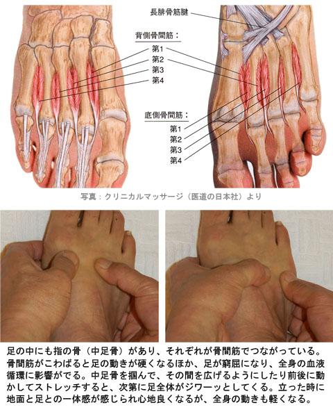 足の骨間筋ストレッチ