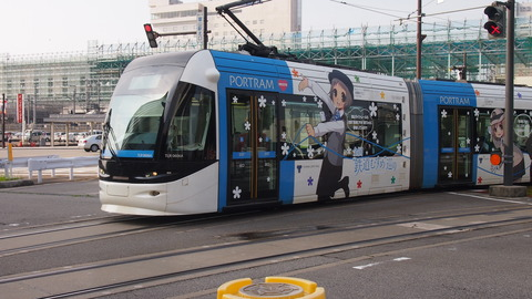 21鉄道むすめ巡りラッピング電車(青)発車