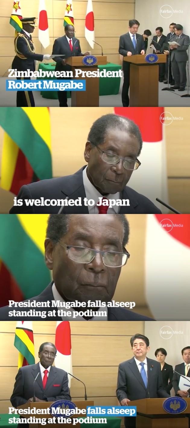 ジンバブエ共和国のロバート・ガブリエル・ムガベ大統領が爆睡に関連した画像-01
