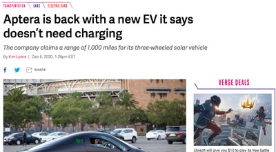 Aptera ソーラーパネル 電気自動車 アメリカ 充電不要