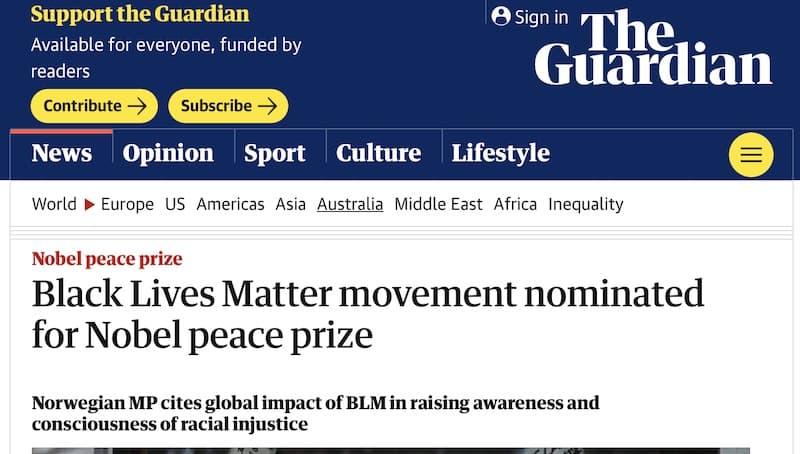 BLM 黒人差別 ノーベル平和賞 ブラック・ライヴズ・マター