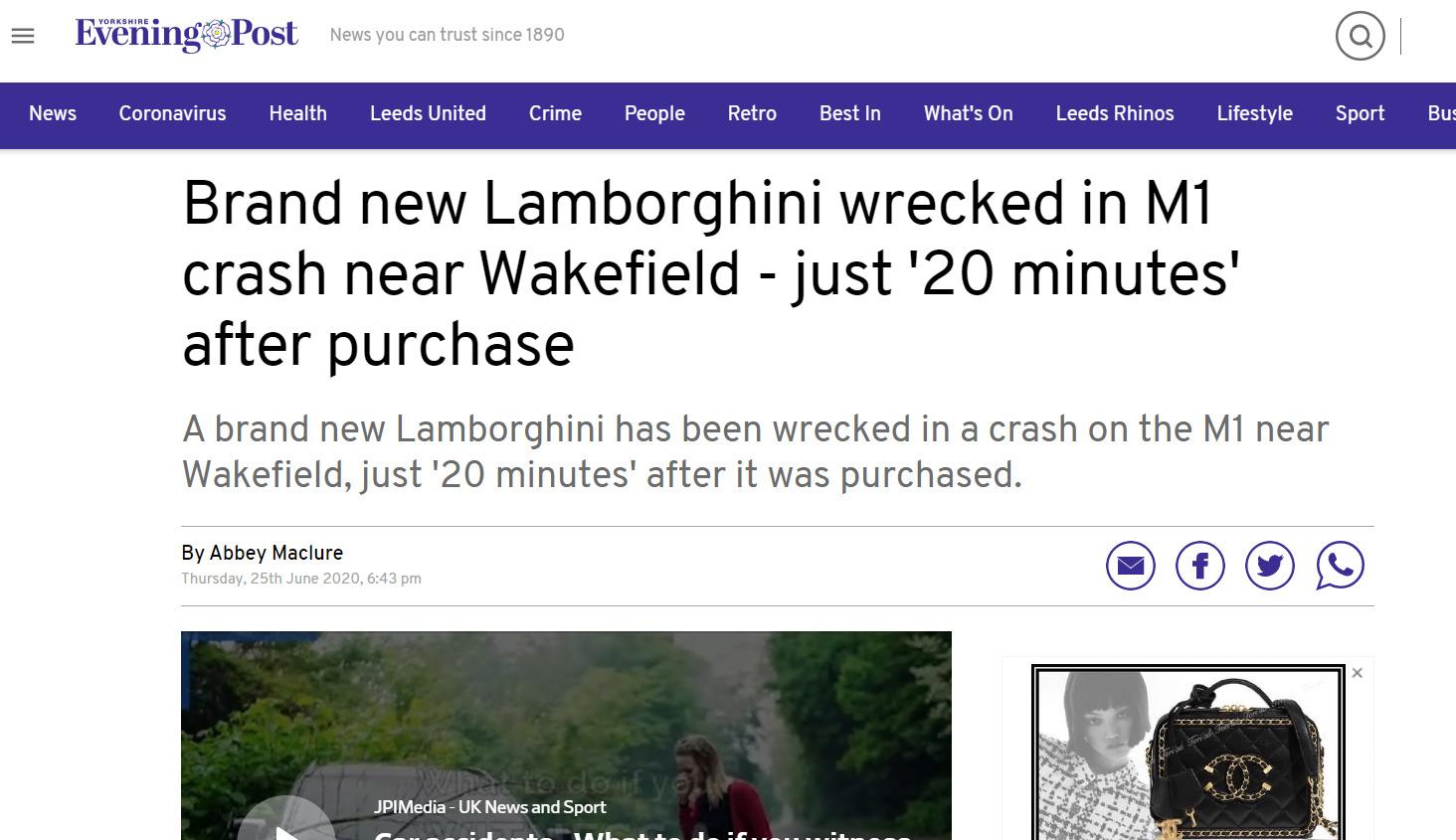 イギリス ランボルギーニ 衝突事故に関連した画像-02