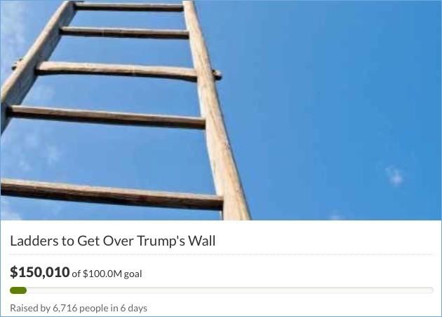 移民が壁を乗り越えるためのハシゴに関連した画像-03
