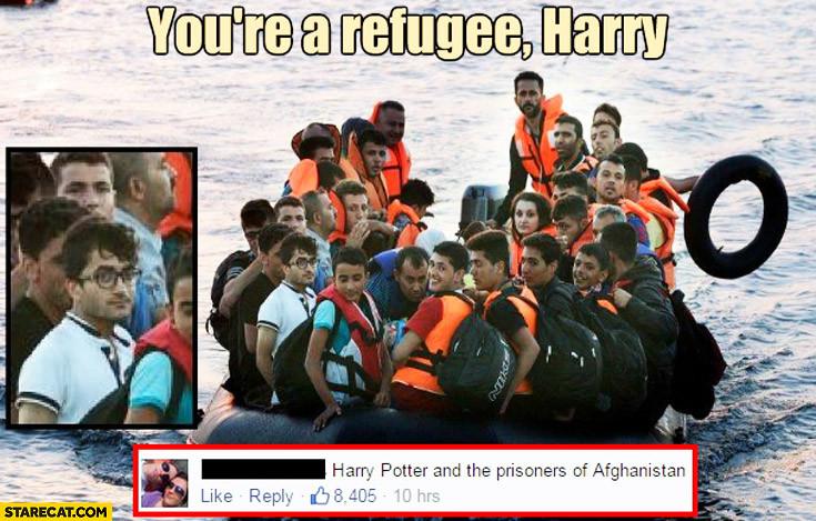 難民ボートにハリーポッターに関連した画像-04
