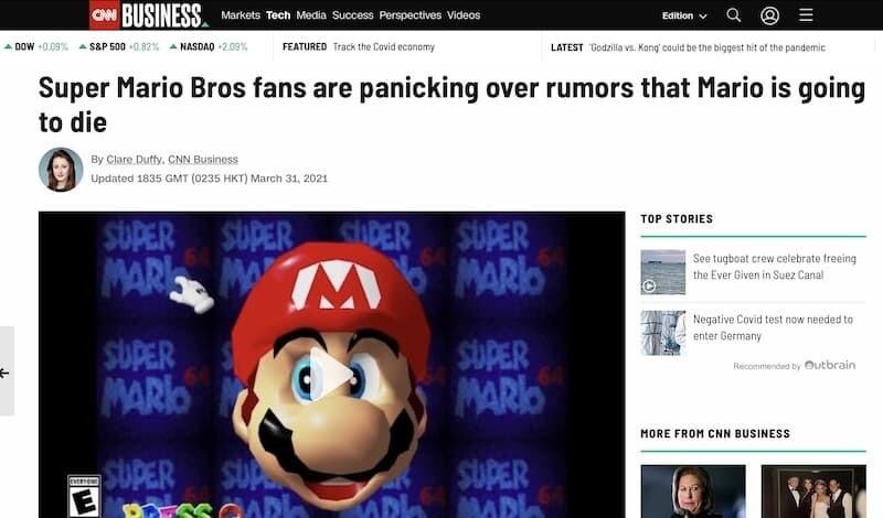 マリオ 任天堂 マリオ死亡 CNN