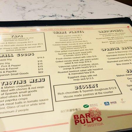Bar Pulpo by MoVida menu