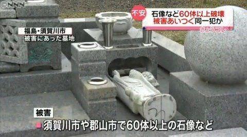 韓国籍の男が寺や神社などで仏像・地蔵・キツネの石像など100体破壊 福島
