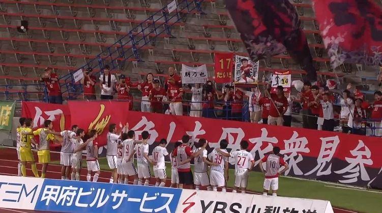 【J2第18節 甲府×金沢】アウェーで強い金沢が2試合連続3得点で甲府に勝利!甲府は3試合勝利なしに