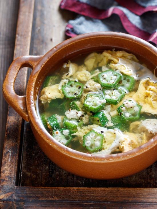 オクラ卵スープ1