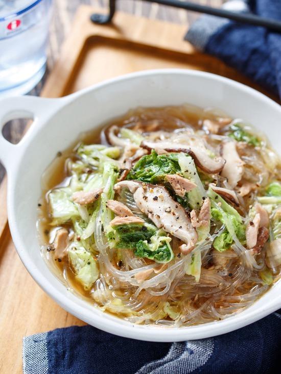 ツナ白菜春雨スープ9