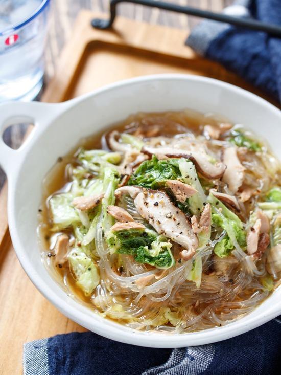 ツナ白菜春雨スープ14