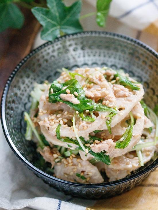 れんこん水菜サラダ3