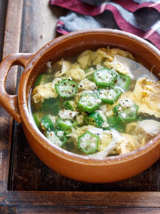オクラ卵スープ9