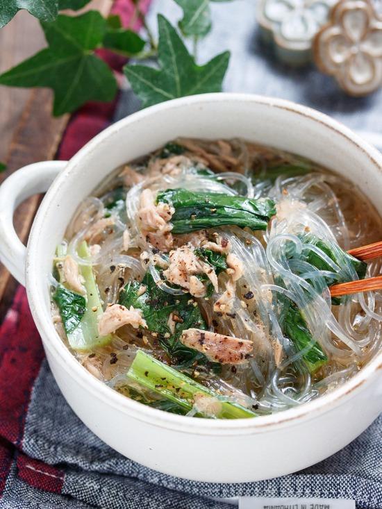 小松菜春雨スープ8