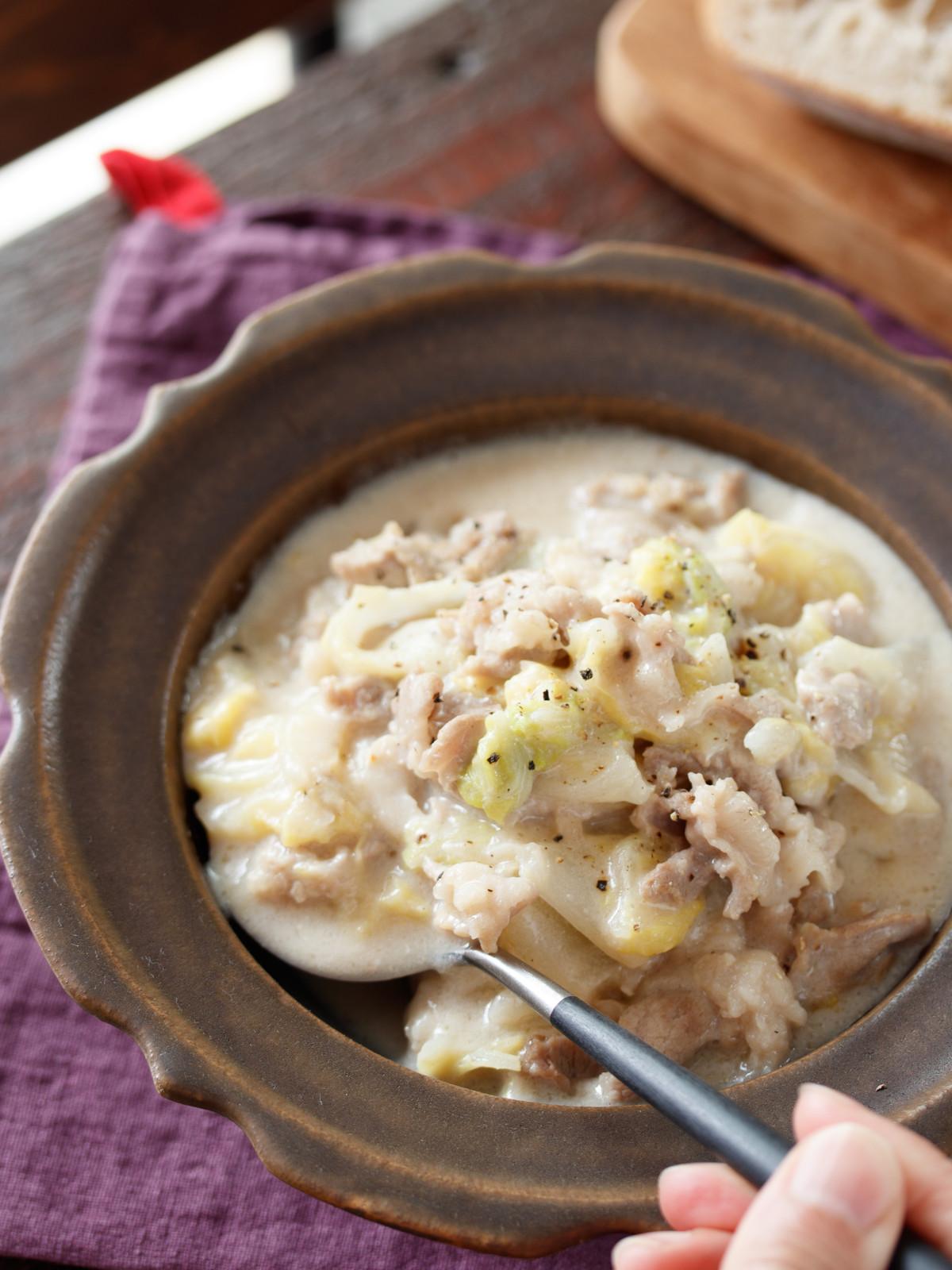 豚こまと白菜の中華クリーム煮 簡単 時短 節約 スピードおかず