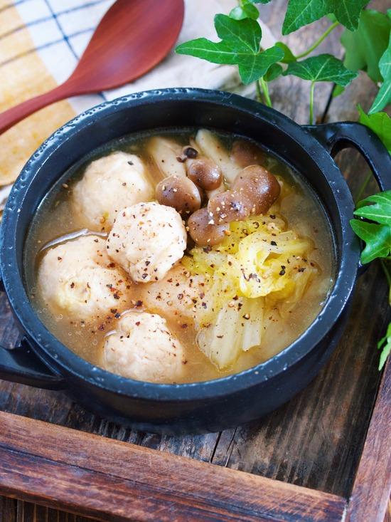 鶏団子白菜とろみスープ5