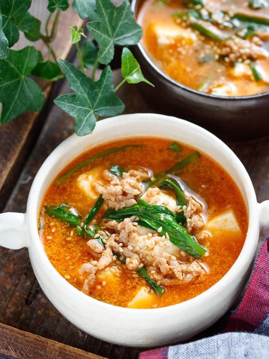 豆腐とひき肉のスープ4
