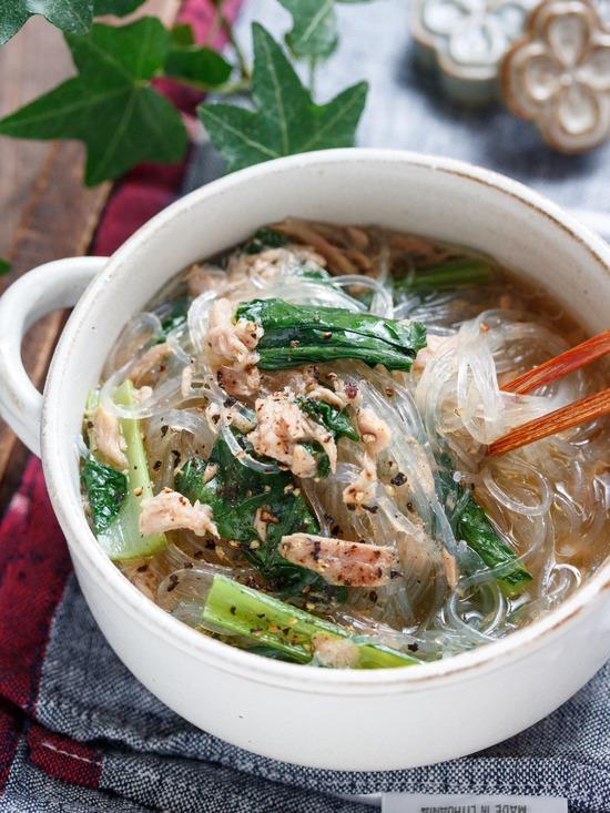小松菜春雨スープ6
