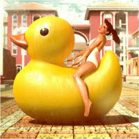 girl on duck