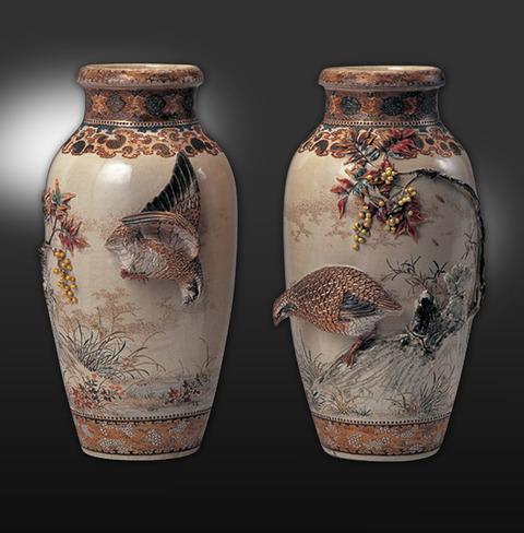 高浮彫葛ニ鶉花瓶