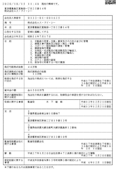 株式会社エス・ブイ・シー法人登記簿