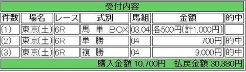 2.15 東京6R 的中馬券