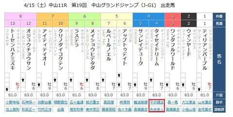 15 中山GJ 出走馬