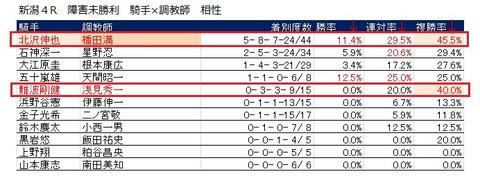 20 新潟4R 障害レース 騎手×調教師相性データ