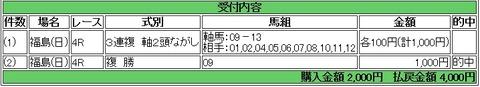 2 福島4R 的中馬券