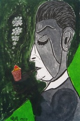 fbミロのタバコを吸う男の頭部をピカソ風に模写