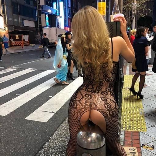 渋谷ハロウィンにビッチ出現!!!