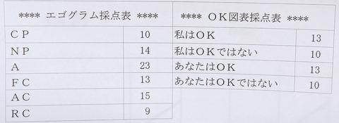 エゴグラム・OK図表スコア
