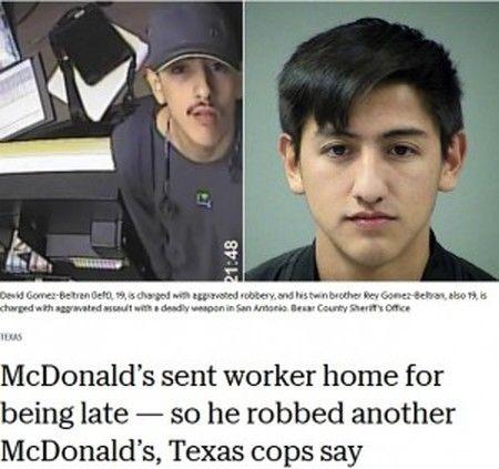 アメリカ・マクドナルドで出勤初日に遅刻して追い返された男、別のチェーン店舗で強盗して逮捕!!犯罪の片棒を担いだのは、なんと…