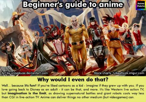 画像共有サイト「imgur」にてアニメ初心者に向けたおススメをガイドする「Beginner's guide to anime」が公開されています。