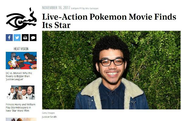 『ポケットモンスター』ハリウッド版として実写映画化 主演にジャスティス・スミス、ゲーム「名探偵ピカチュウ ~新コンビ誕生~」が基に