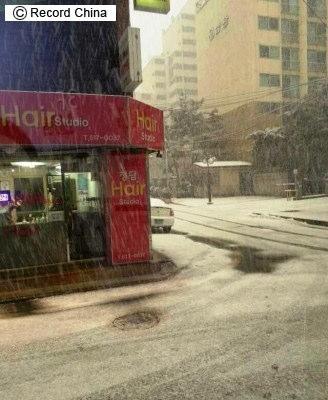 20日ソウルに降った酸性雪