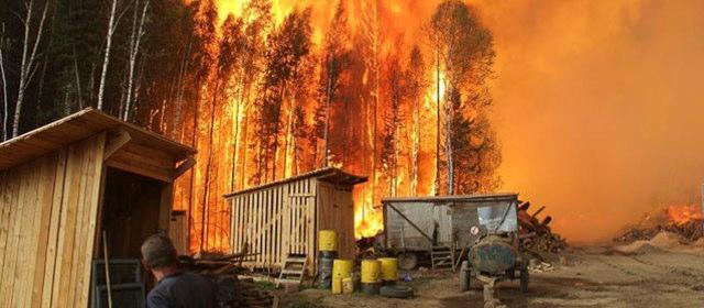 バイカル湖の森林火災