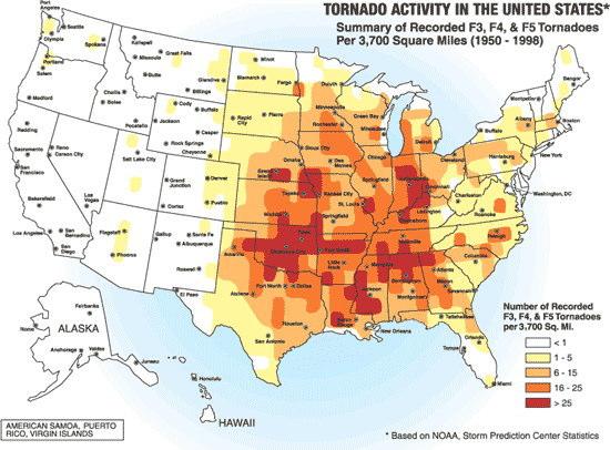 F3以上の竜巻の発生頻度