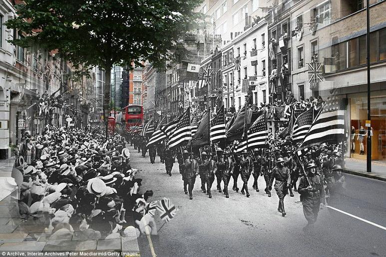 第一次世界大戦と現在、同じ位置で撮影された写真