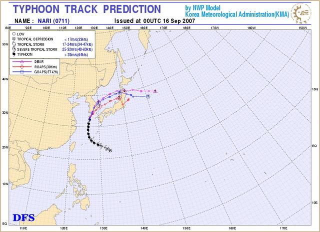 韓国の台風進路予想
