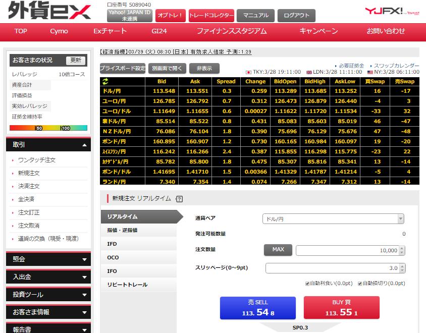 YJFX_取引画面